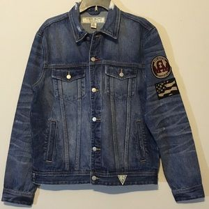 Guess Jackets & Coats - Men's Guess Jean Jacket Distressed Patches Flag